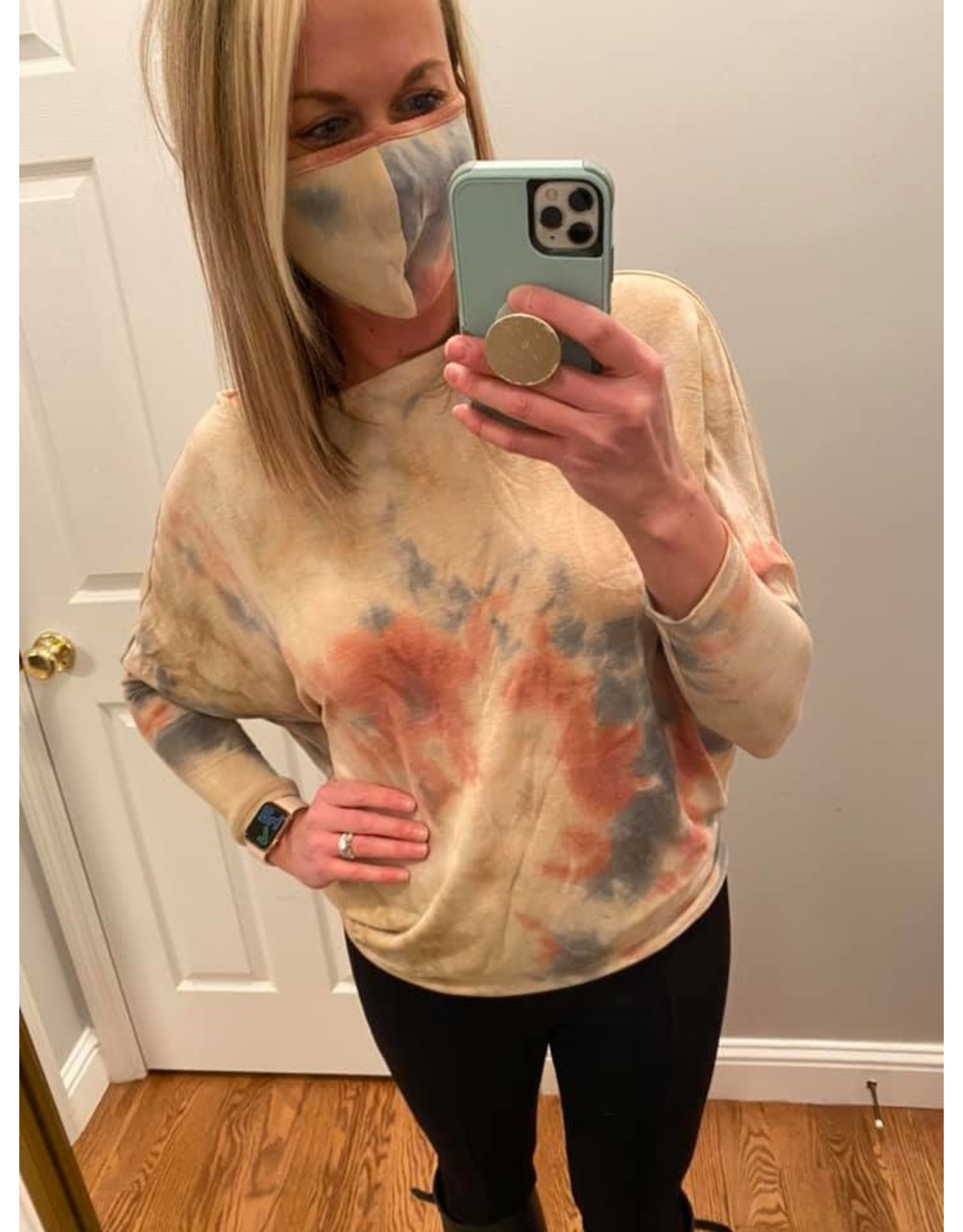 Blue B Off Shoulder Tie Dye Top With Mask