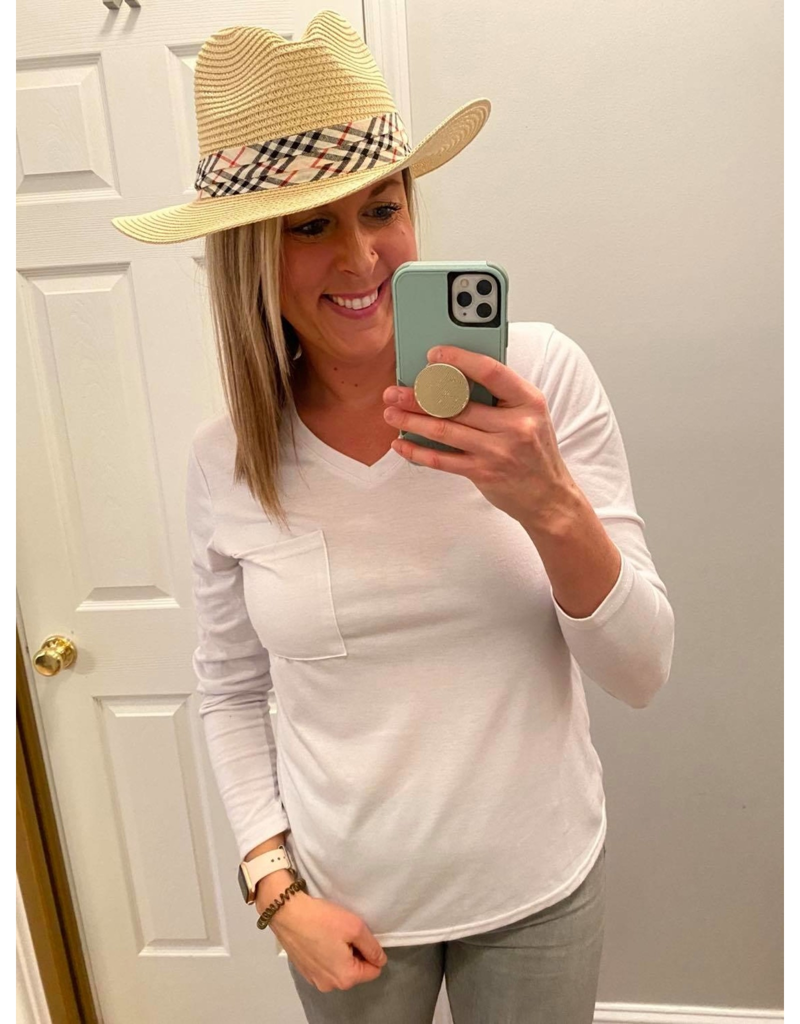 i.cco Small Straw Hat With Plaid Band