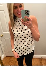 Liverpool Sleeveless  Mock Neck Back Tie Polka Dot Blouse Black  White