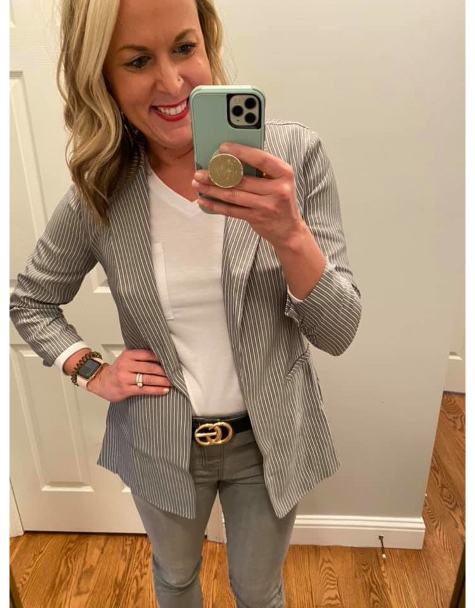 Must Have Gray and Black Striped Twill Ruched Blazer