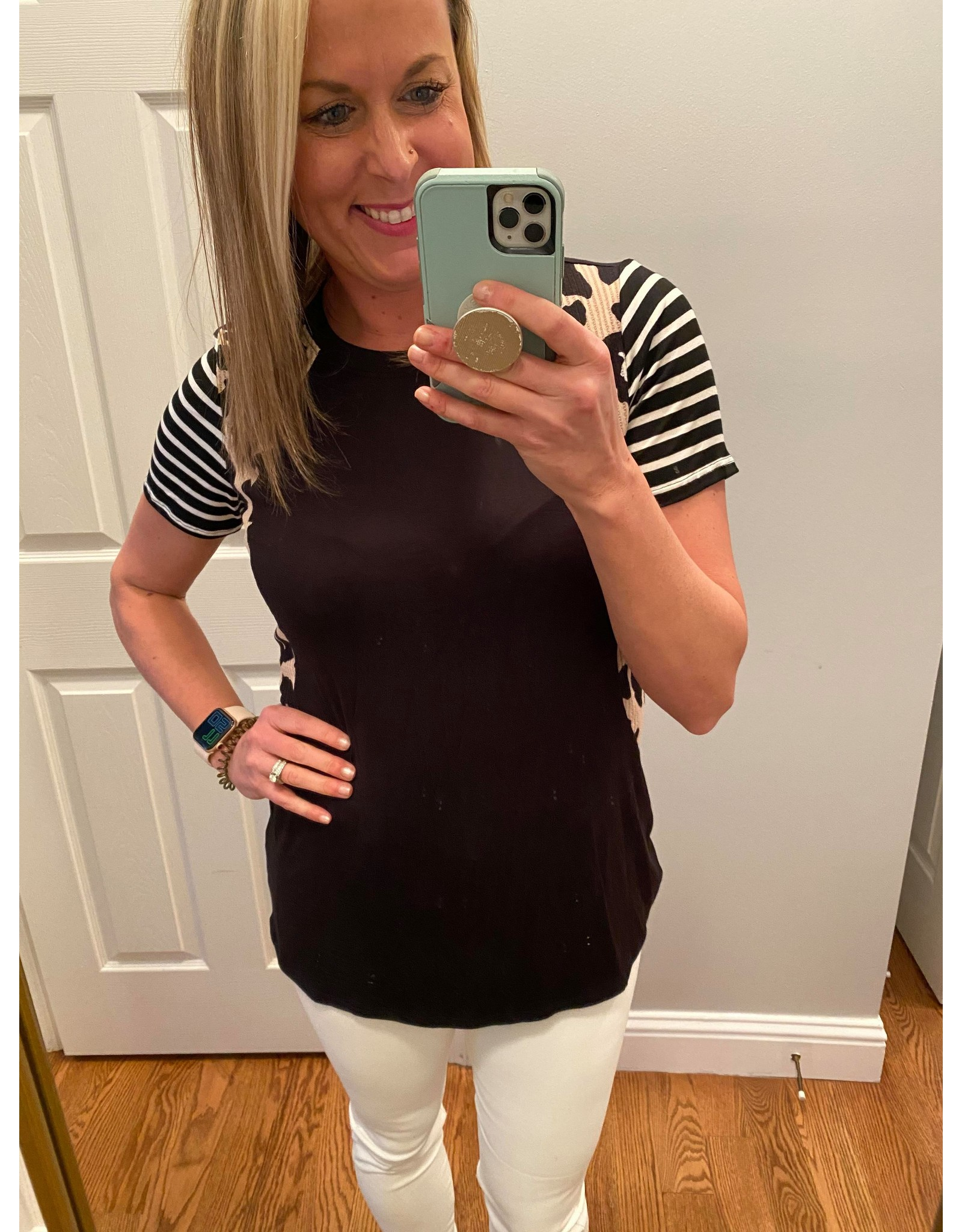 Click Puff Animal Print and Striped Color Block Top Black
