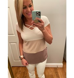 Click Puff Color Block Top With Cross At Neck Tan