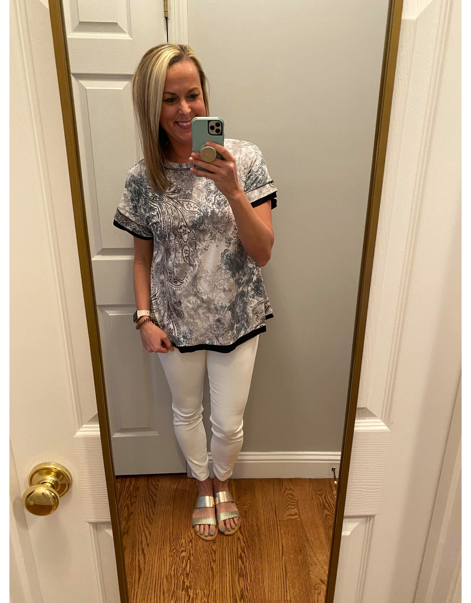 Click Puff Round Neck Short Sleeve Top Multi Colored