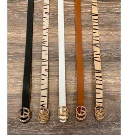 i.cco Tan Skinny Belt