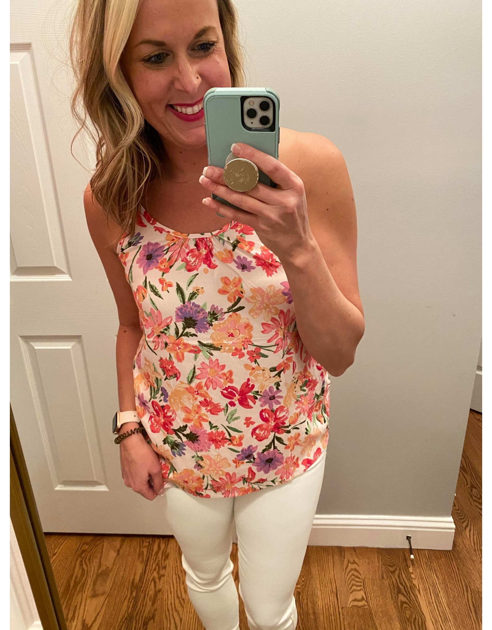 Staccato Round Neck T Back Floral Print Top