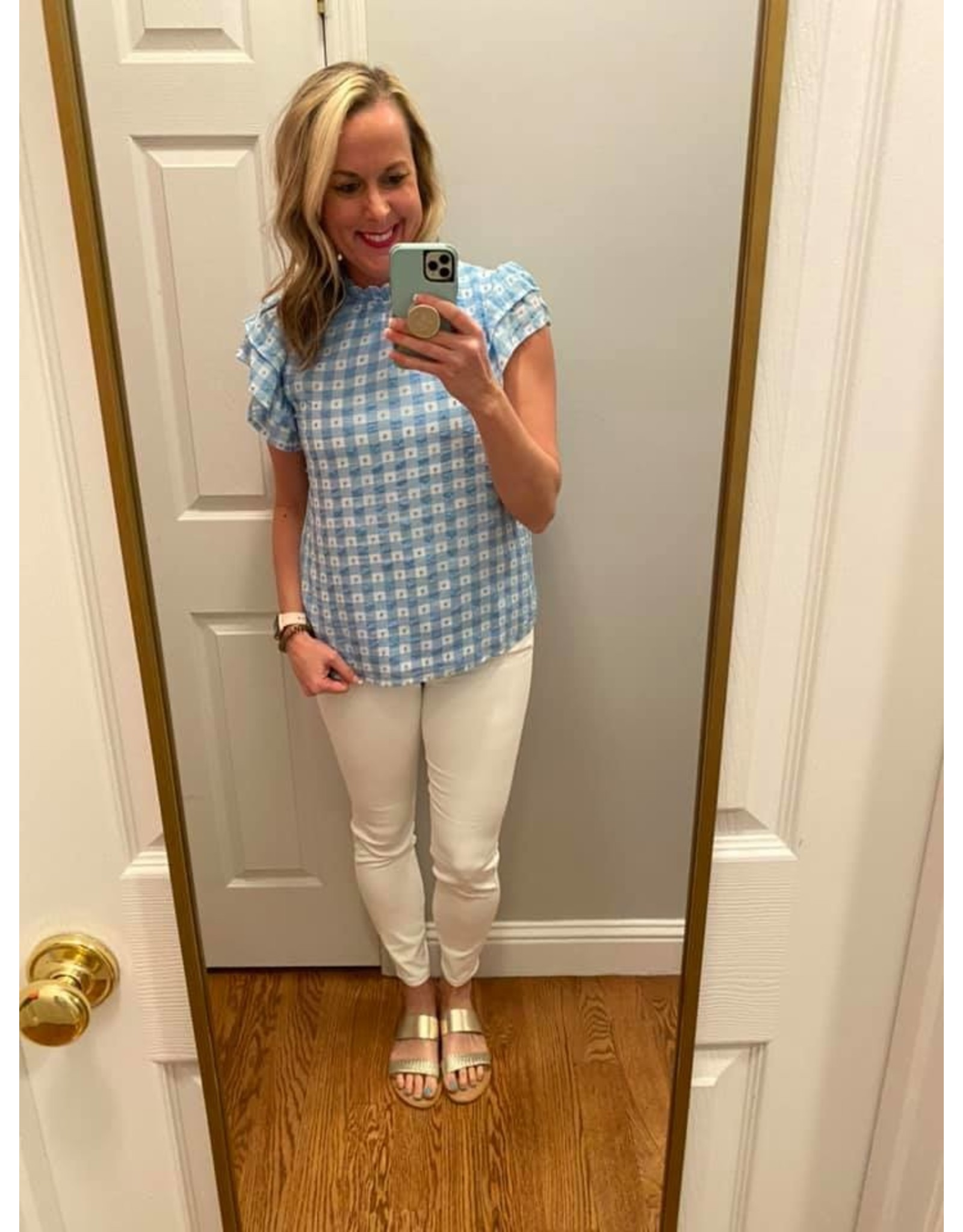Shewin Round Neck With Ruffled Sleeves Blue Check