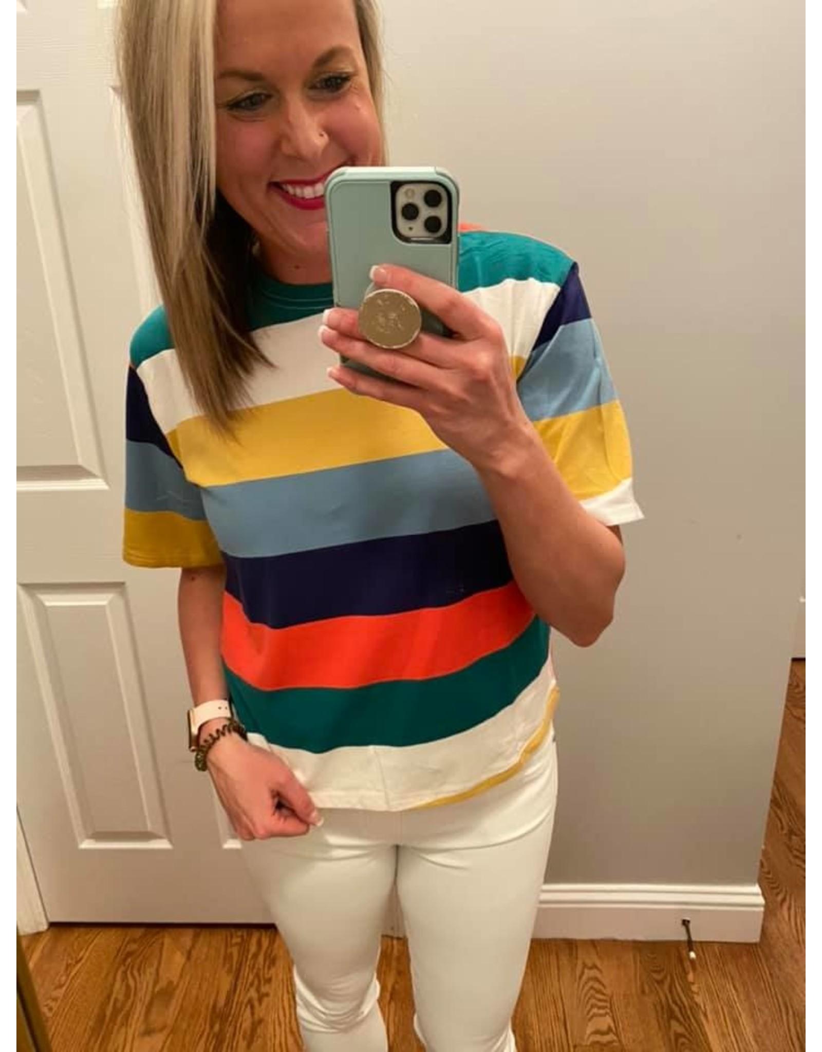 Urban Chic Short Sleeve Multi Color Stripe Top