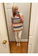 Urban Chic Crochet  Cap Sleeves Stripe Tunic Top
