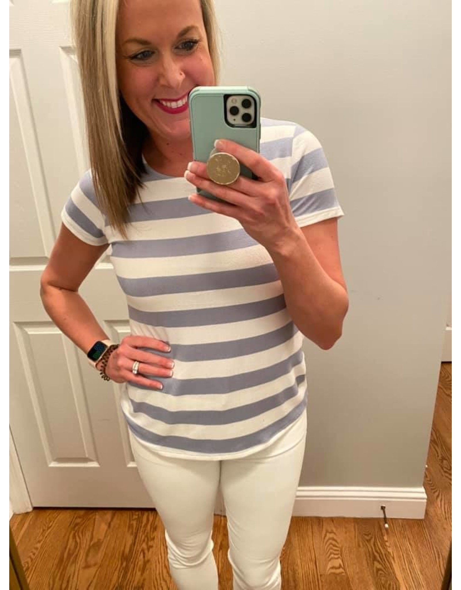 Urban Chic Short Sleeve Stripe  Top With Button Back