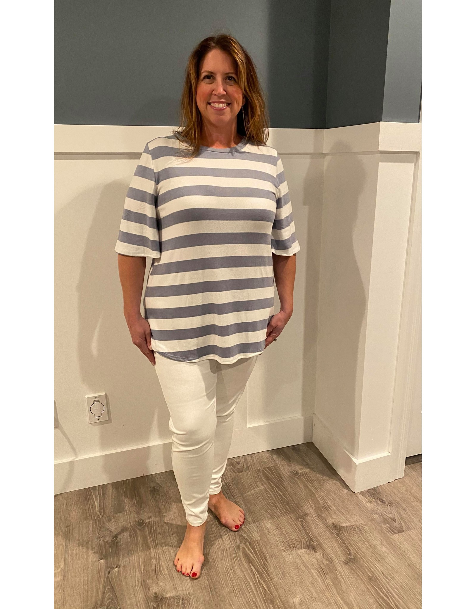Urban Chic Wide Half Sleeve Stripe  Tunic Light Blue