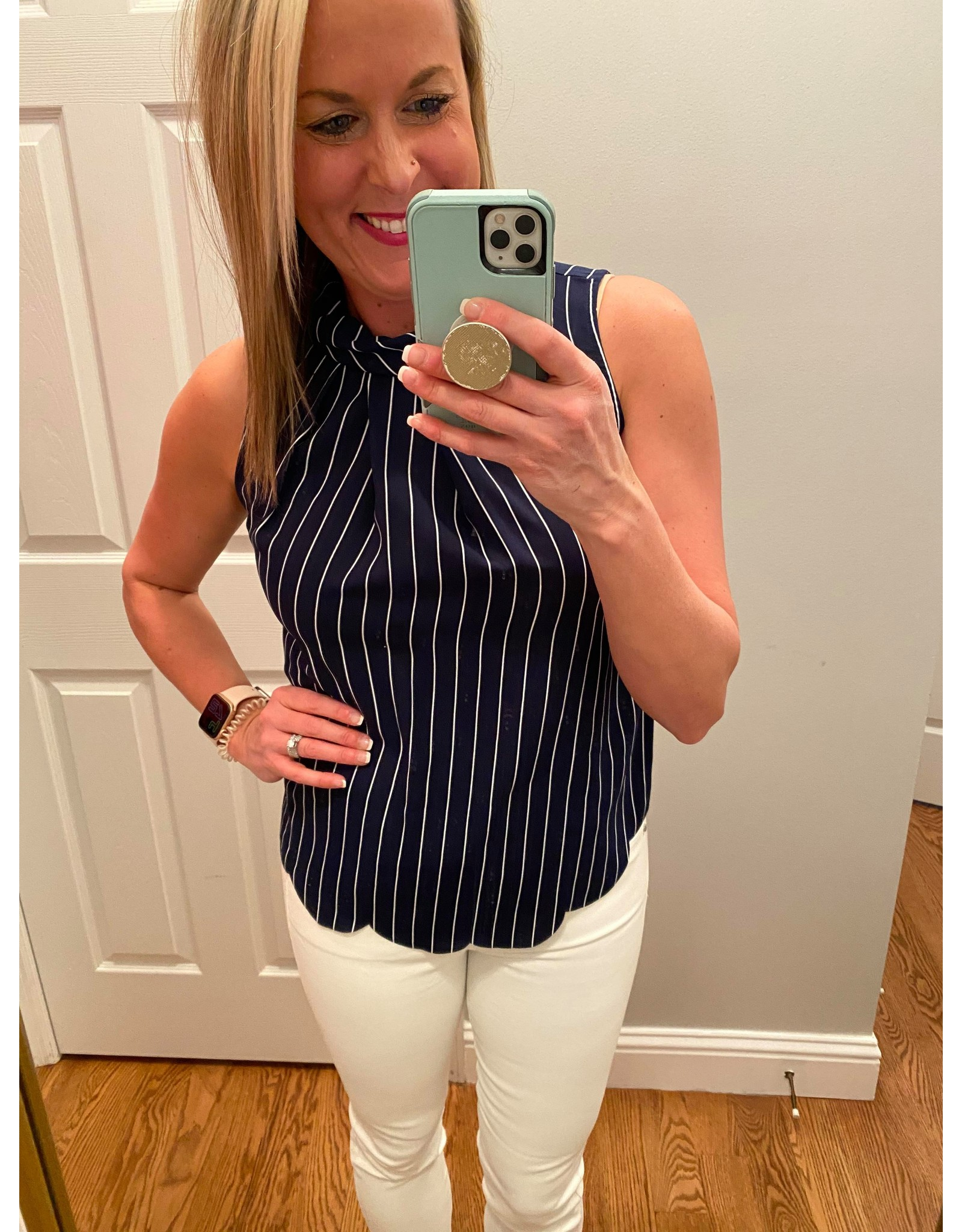 Westmoon Sleeveless Stripes with Edge Scallop Navy