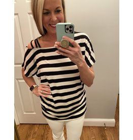 BiBi Stripe Top with One strapped one shoulder