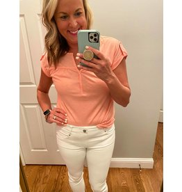 Shewin V neck Capped Sleeves Button Front Pink