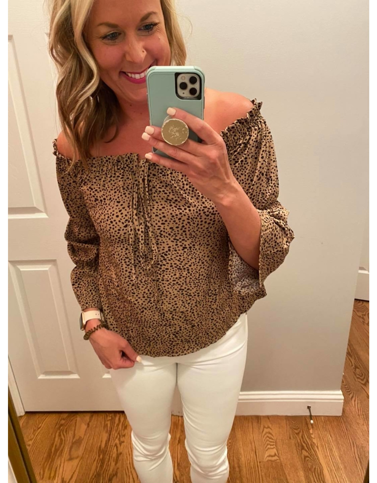 Shewin Animal Print Off Shoulder Puff Sleeves