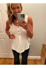 Shewin Front Button Sleeveless Top White