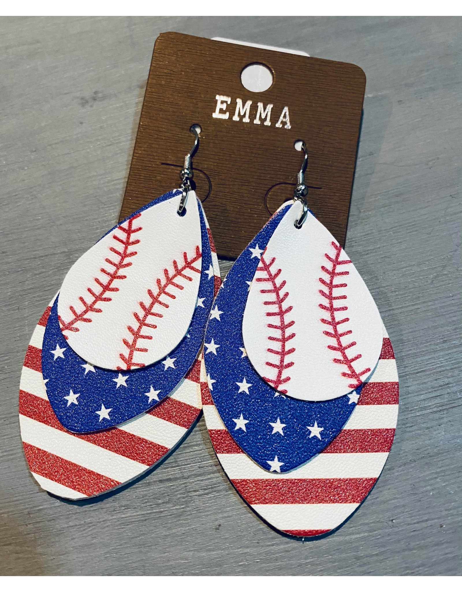 Your Fashion Wholesale Baseball Earrings With American Flag