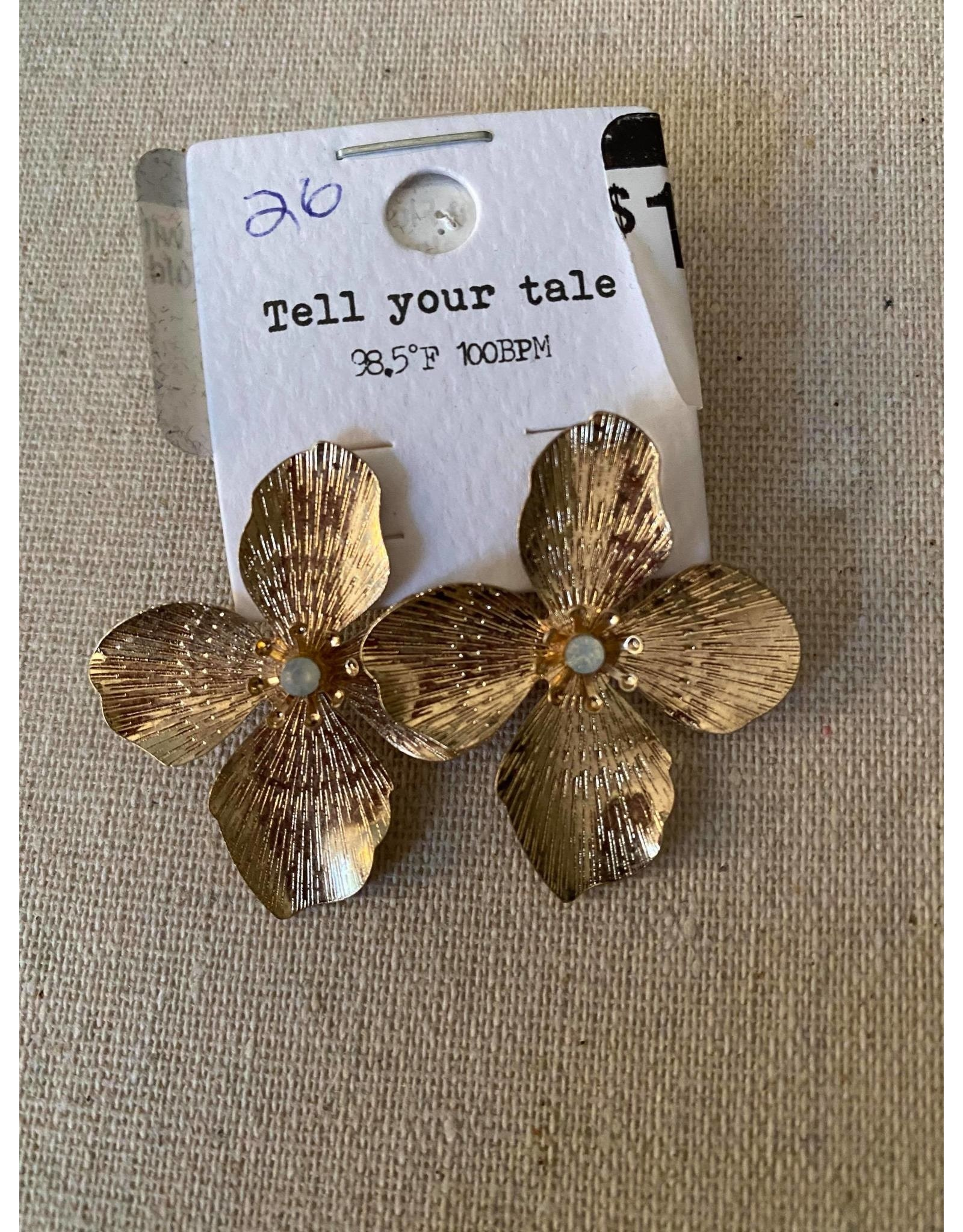 Metal Flower Earrings with rhinestone in Center