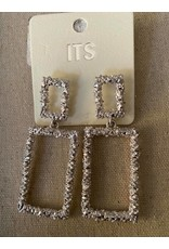Large Square Silver Hammered Metal Earrings