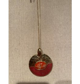 LA Jewelry Gold Long Necklace With Red Stone