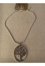 H- Silver tree of life necklace w/earrings