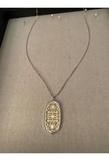 H silver w/gold filigree long pendant
