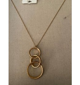 """Fame Accessories Fame 29"""" gold necklace w/ 3 interlocking circles"""