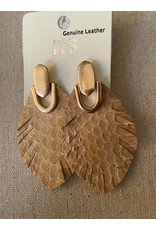 Urbanista Urbanista Feathe shaped leater snake print and gold dangle earrings