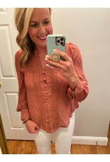 Blue Pepper Long Sleeve  Dotted Swiss Blouse Dusty Pink