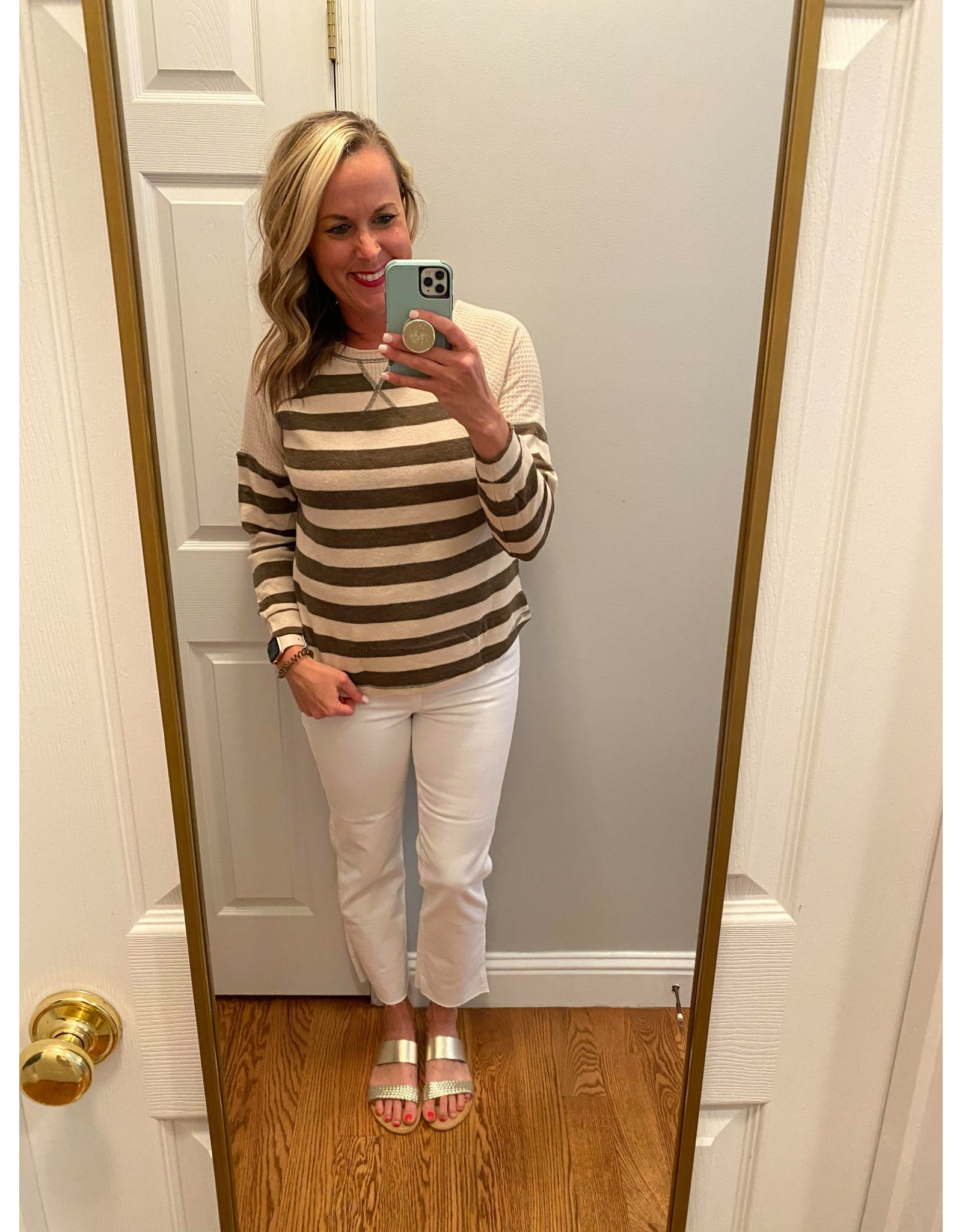 Blue Pepper Stripe Raglan Knit Top Khaki and Olive