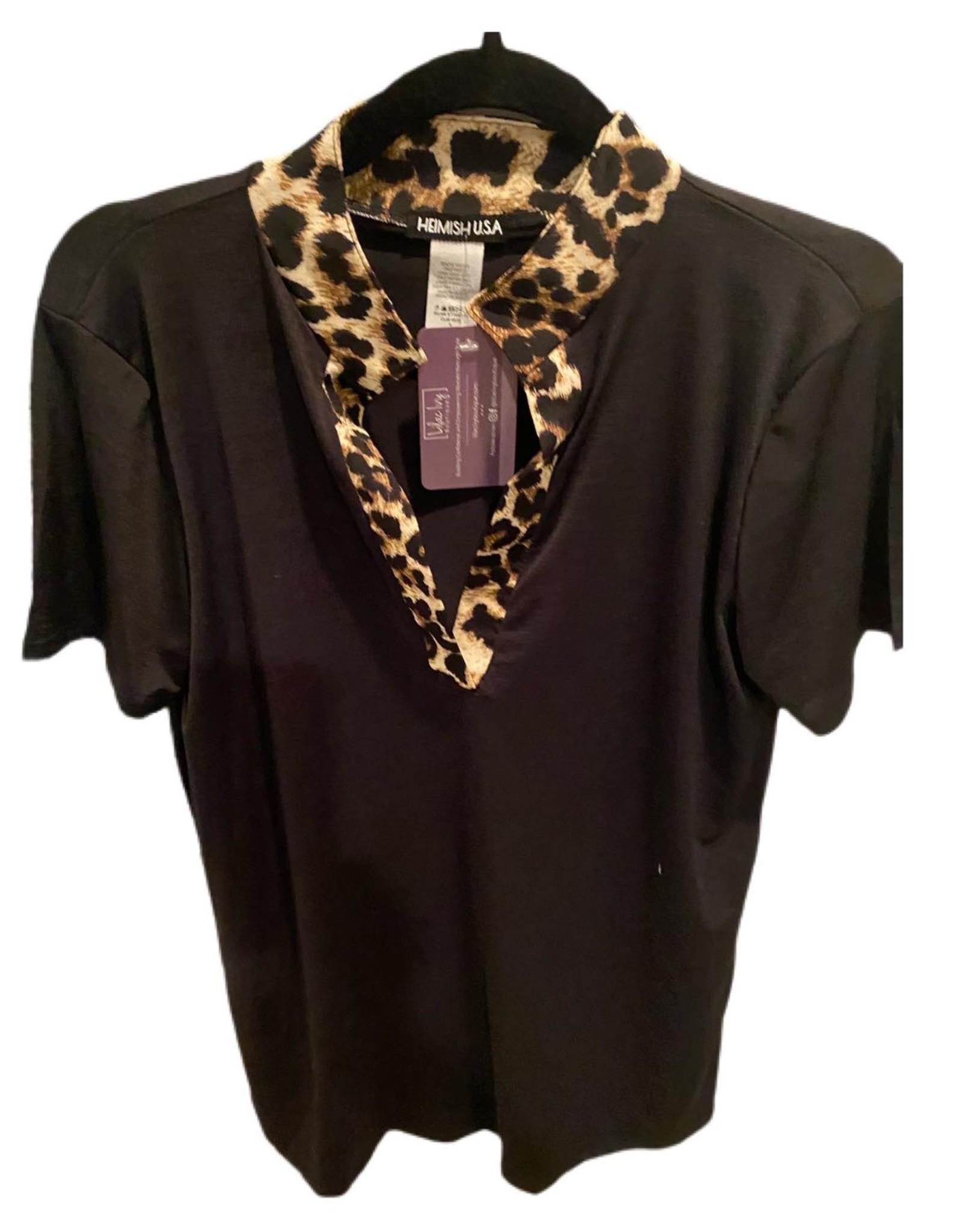 Heimish Short Sleeve animal print  Mandarin Collar Top Black