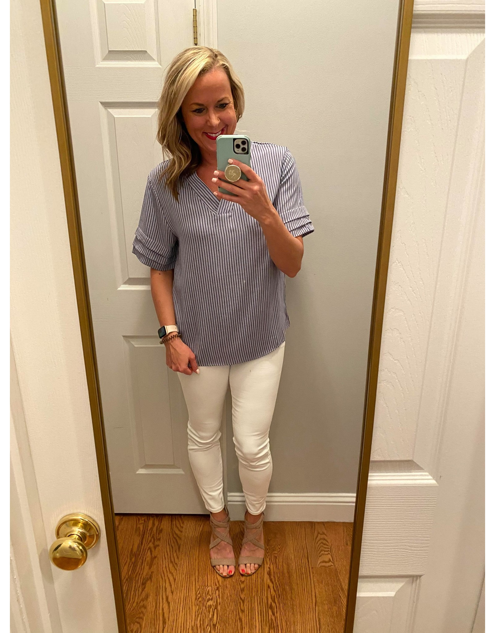 upmost V-neck tunic top striped with short sleeves