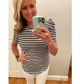 b-tween Short sleeve puff sleeve stripe top black