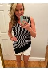 Doe & Rae Asymmetrical stripe top black white