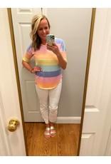 Bom Bom Multi color stripe soft knit top