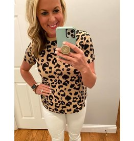 Shewin Leopard print round neck t shirt
