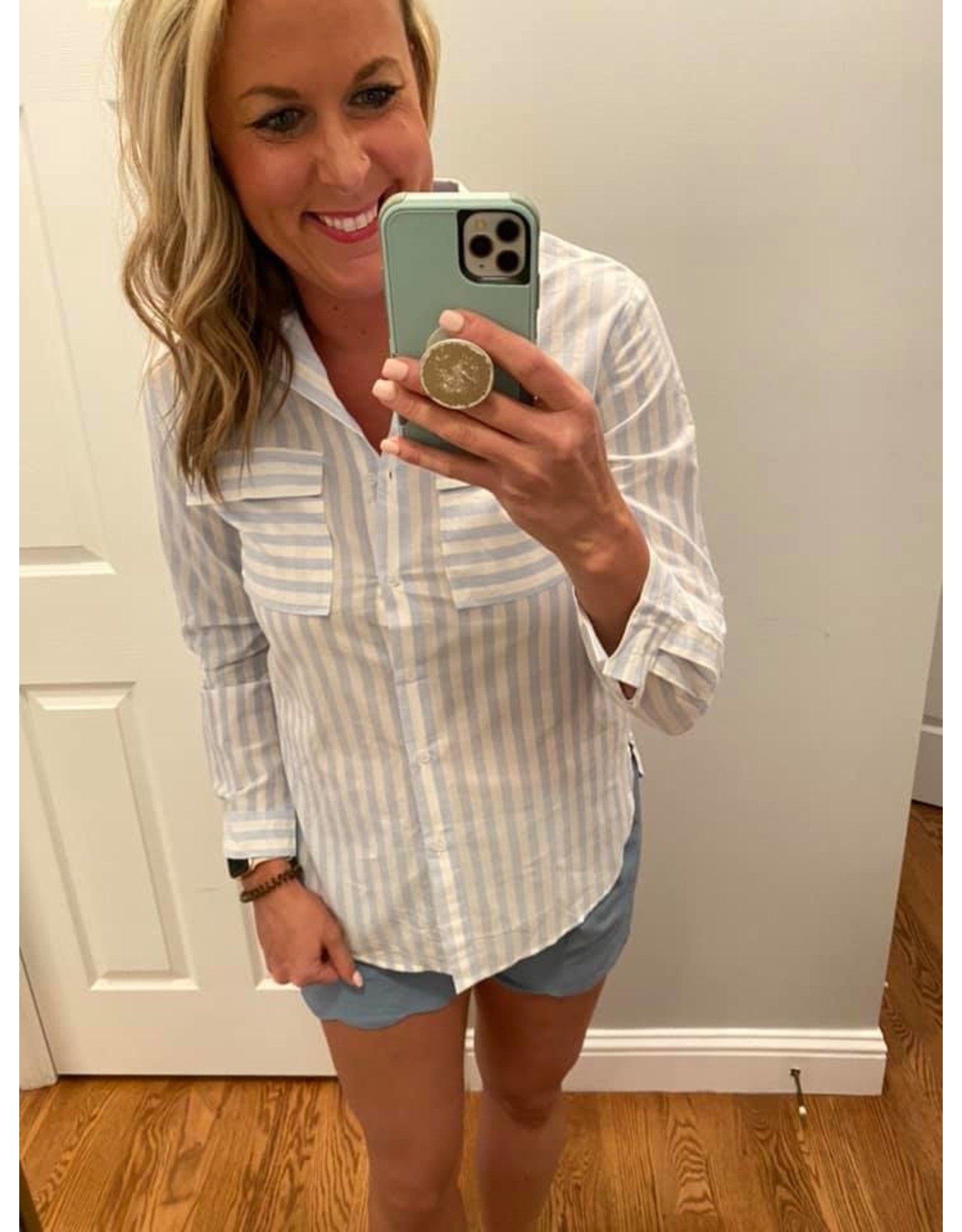 Shewin Striped button down long sleeve blouse blue white