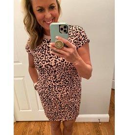 Shewin Round neck short sleeve leopard dress