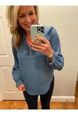 Blue Age Long sleeve ruffle neck denim blouse