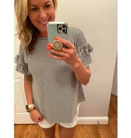 Clique 1 Co Pin stripe jersey ruffle short sleeve top black white