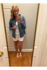 Blue Age Denim long sleeve blouse with zipper pockets