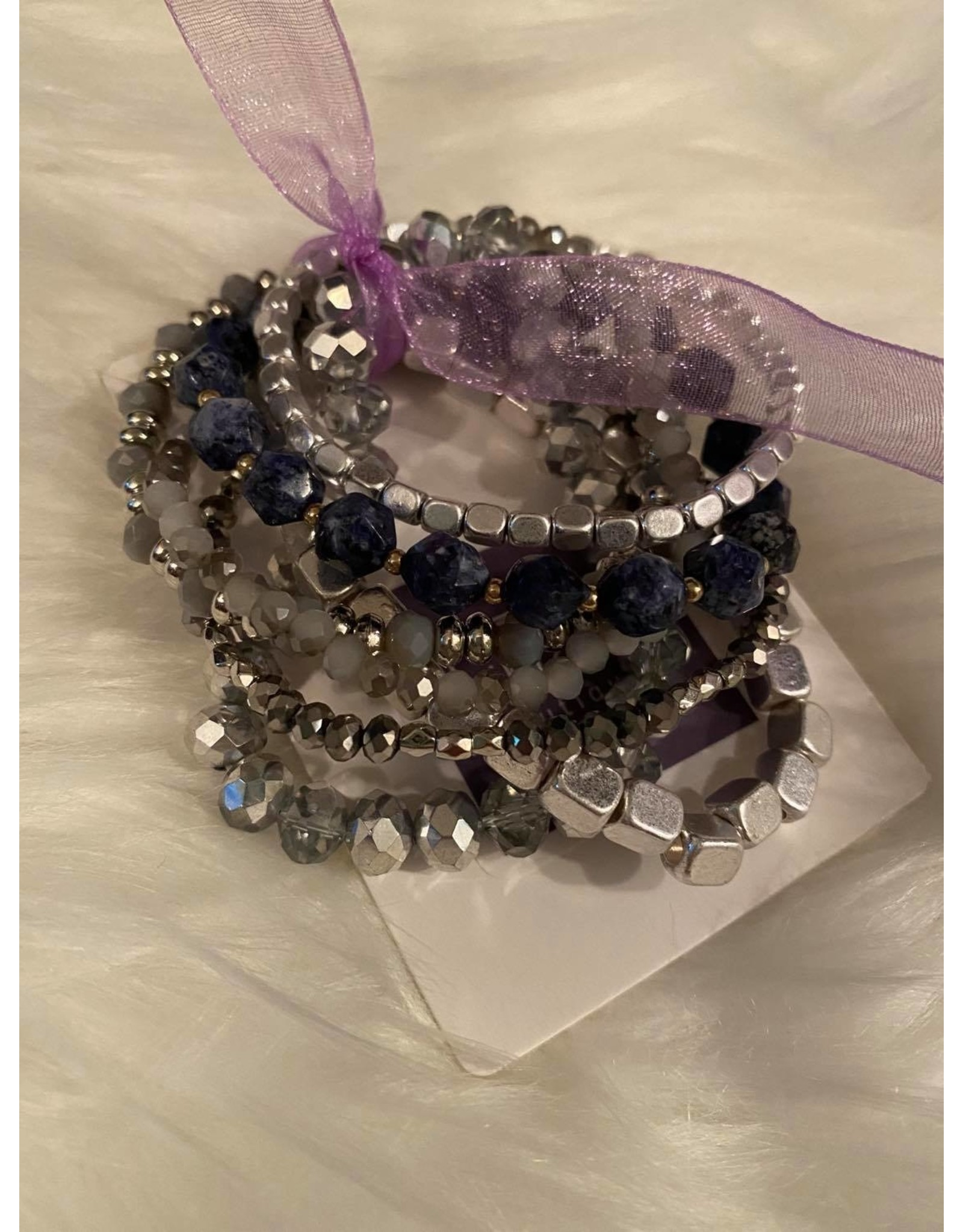 Blue and silver mixed bracelet set