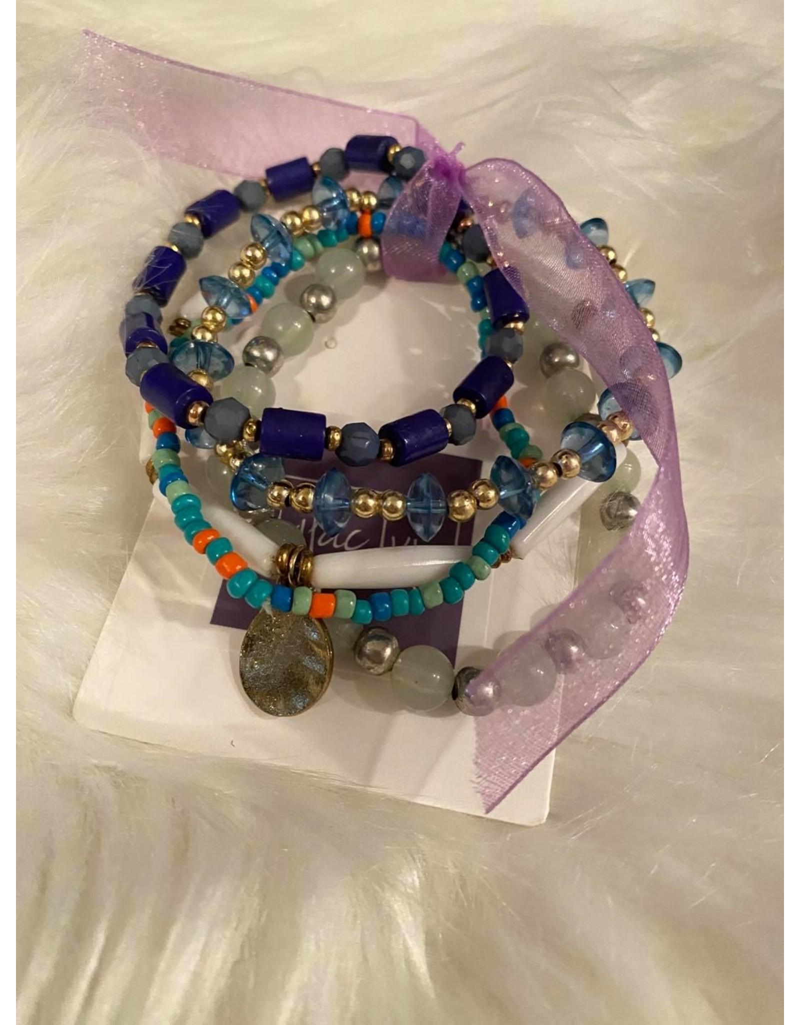 Teal mixed bracelet set