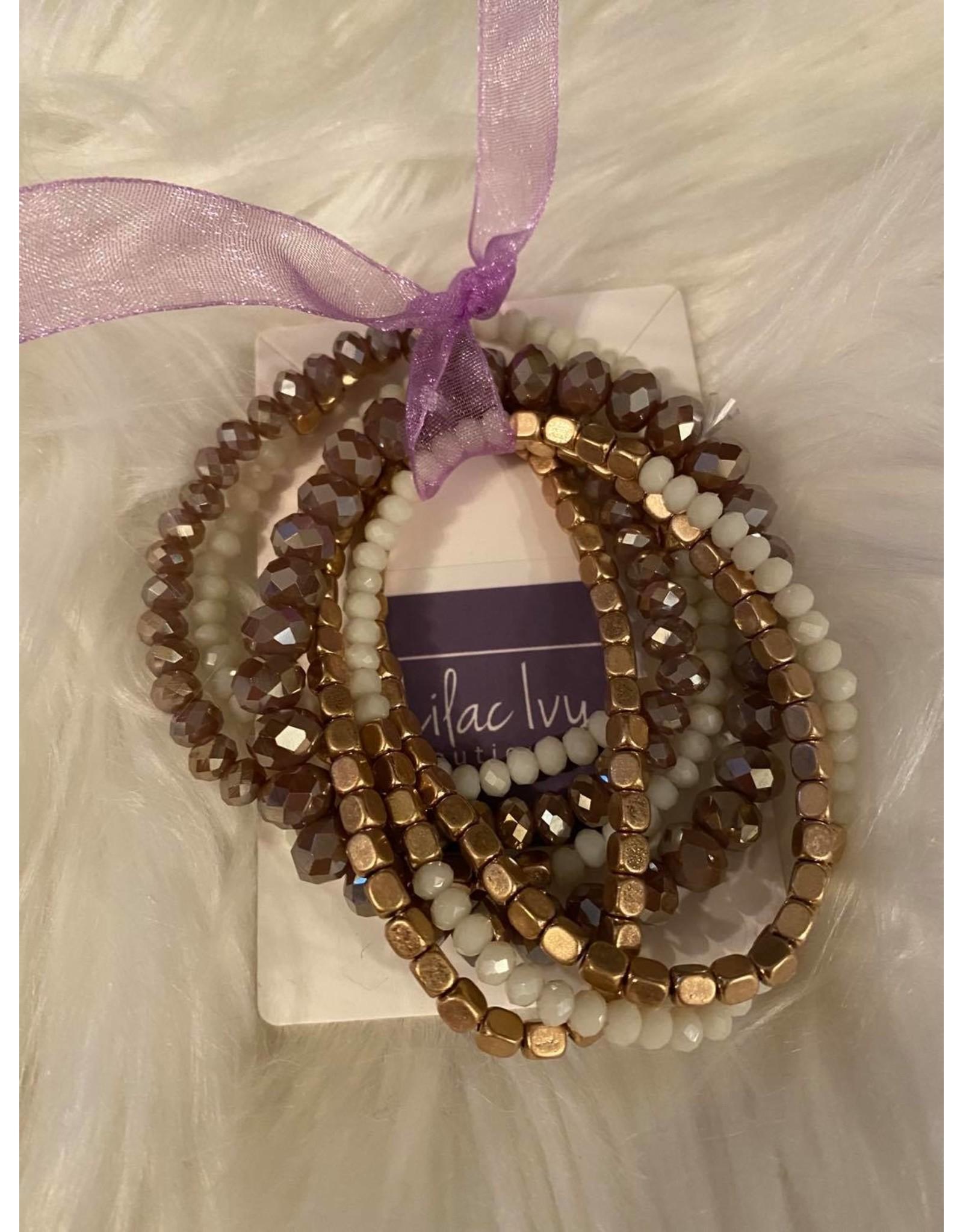 Gold and white mixed bracelet set