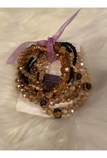 Black and gold mixed bracelet set