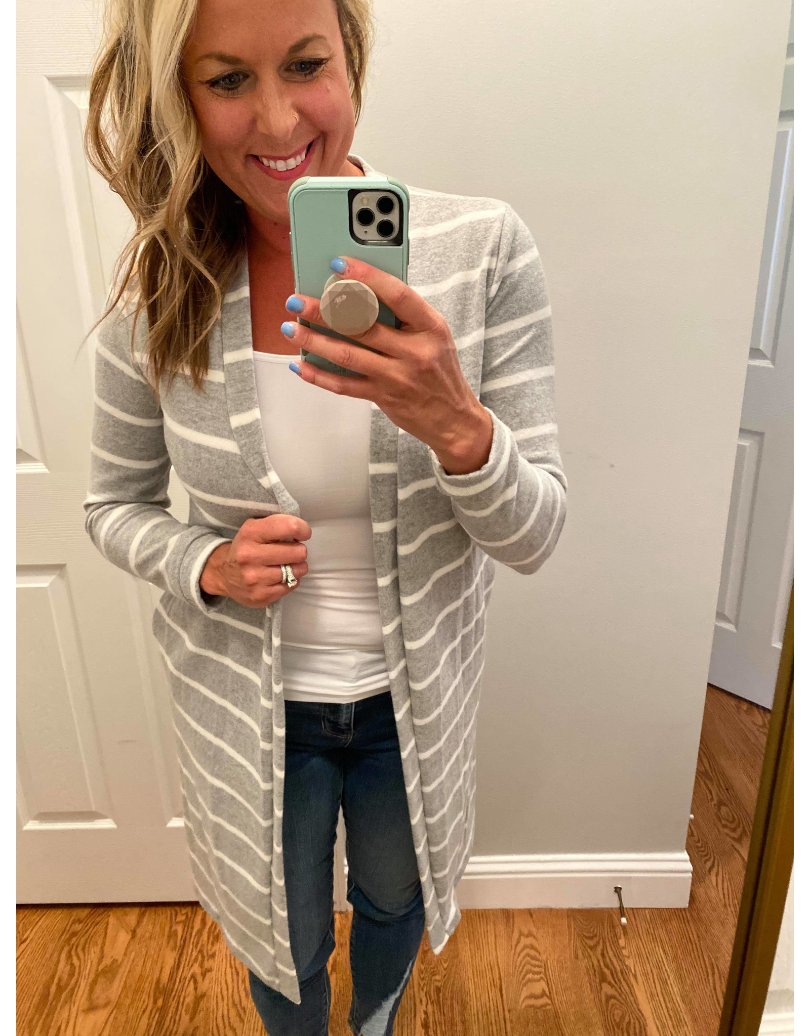 Les Amis Striped cardigan grey white