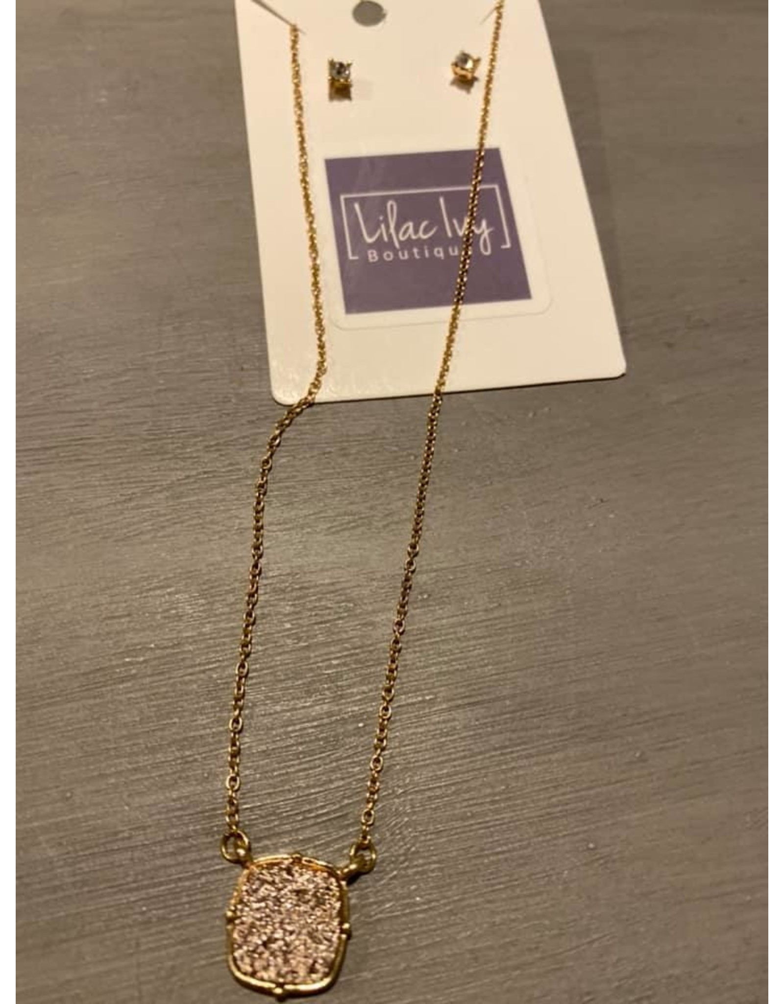 Square druzy rhinestone necklace