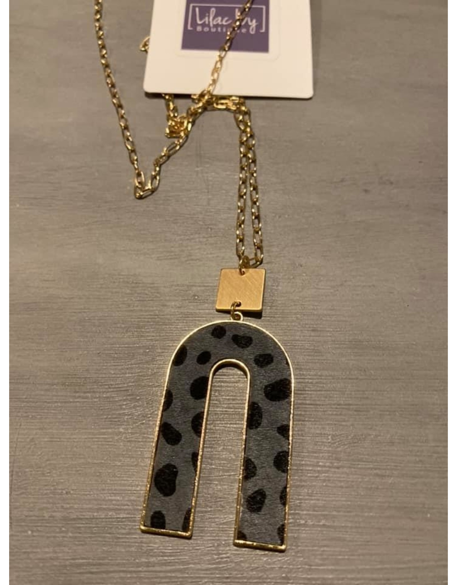Inverted U long necklace - gray/blue or brown