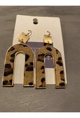 Inverted U dangle earrings - gray/blue or brown