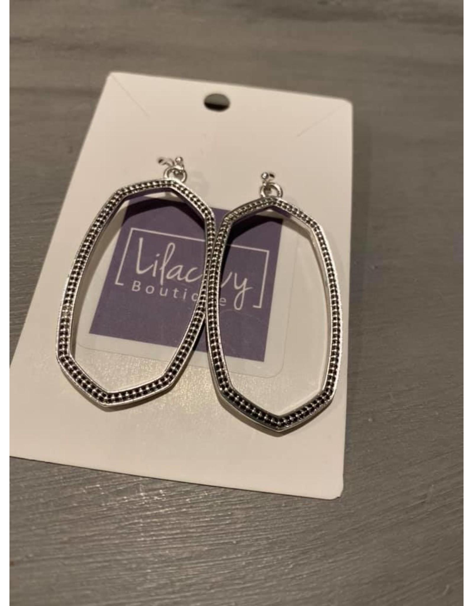Large oval dangle earrings - sliver or rose gold