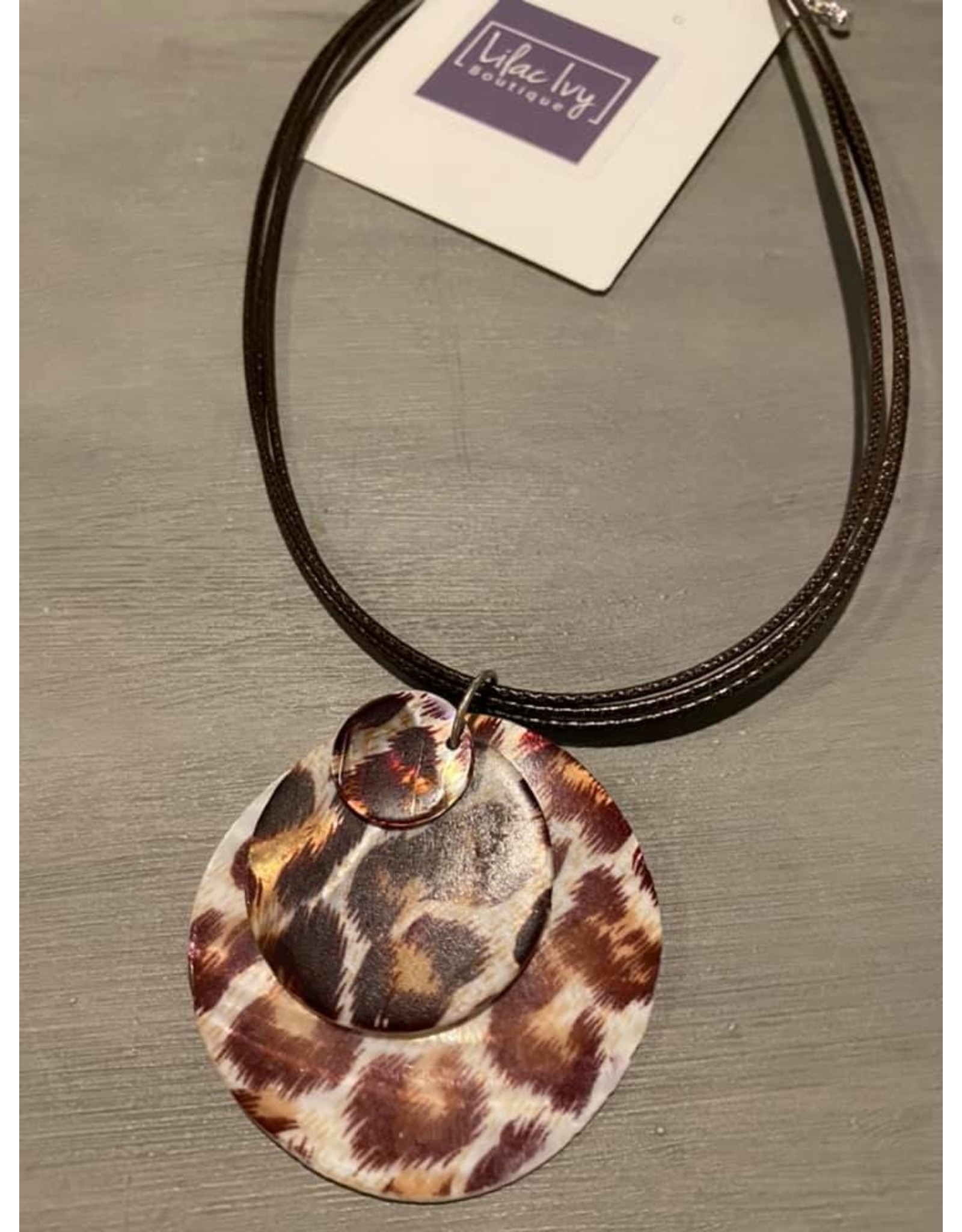 Three Tiered Leopard Disk On Black Cord Necklace with Earrings